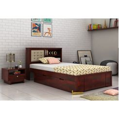 Nova Single Bed With Storage (Mahogany Finish)
