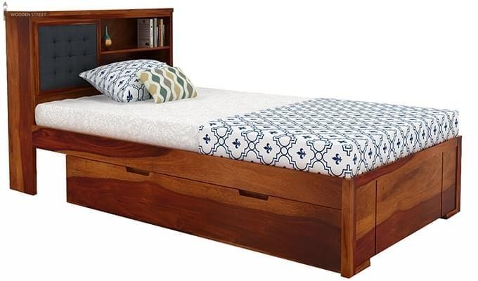 Nova Single Bed With Storage (Honey Finish)-4