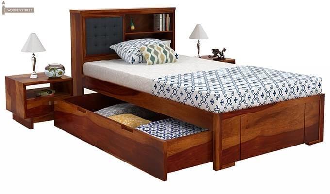 Nova Single Bed With Storage (Honey Finish)-6