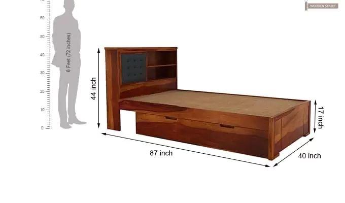 Nova Single Bed With Storage (Honey Finish)-7