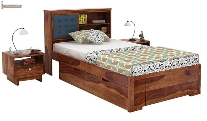 Nova Single Bed With Storage (Teak Finish)-1