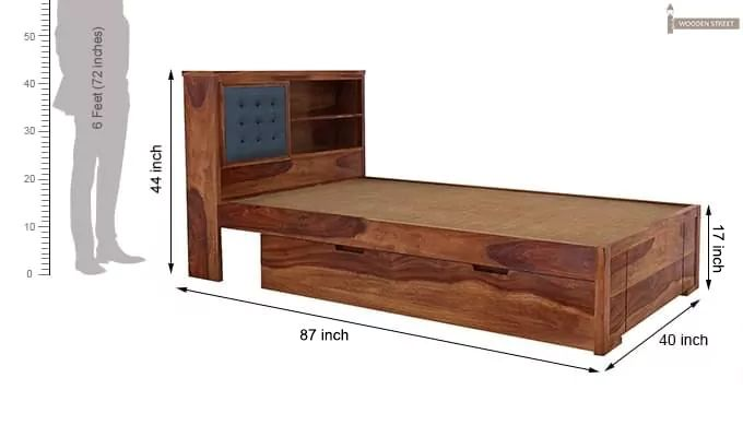 Nova Single Bed With Storage (Teak Finish)-7