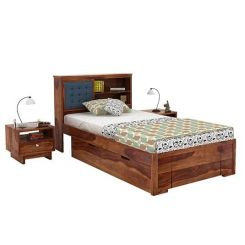Nova Single Bed With Storage (Teak Finish)