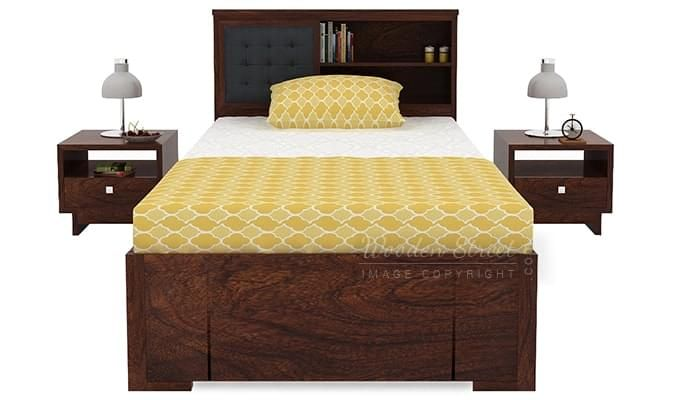 Nova Single Bed With Storage (Walnut Finish)-2