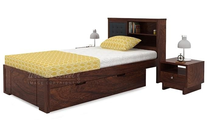 Nova Single Bed With Storage (Walnut Finish)-3