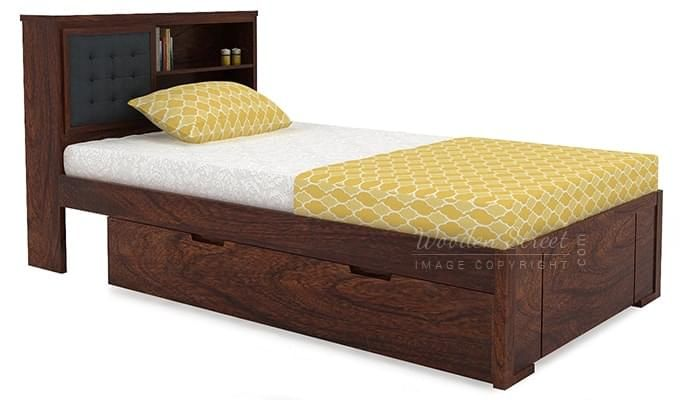 Nova Single Bed With Storage (Walnut Finish)-4