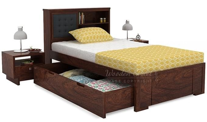 Nova Single Bed With Storage (Walnut Finish)-6