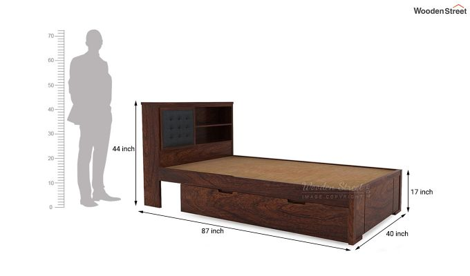 Nova Single Bed With Storage (Walnut Finish)-7