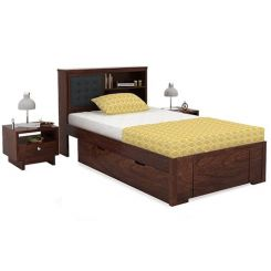 Nova Single Bed With Storage (Walnut Finish)