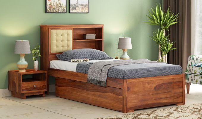 Nova Single Bed With Storage (Honey Finish)-1