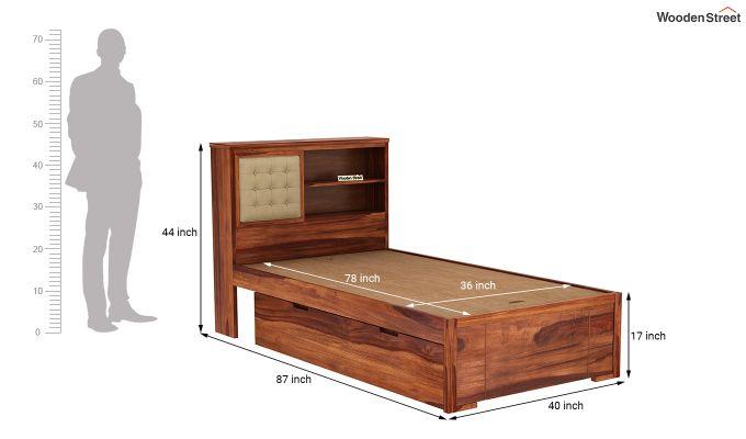 Nova Single Bed With Storage (Honey Finish)-8