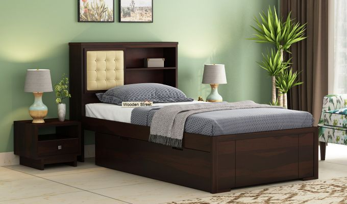 Nova Single Bed With Storage (Walnut Finish)-1