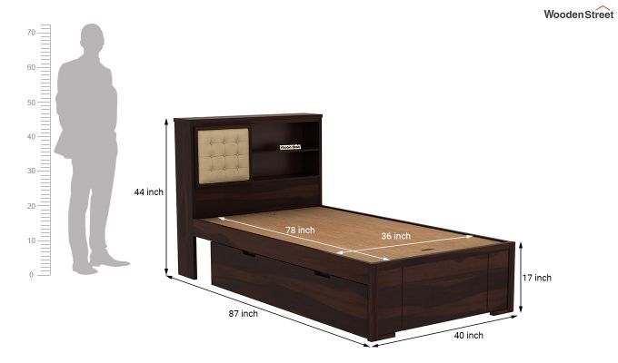 Nova Single Bed With Storage (Walnut Finish)-8