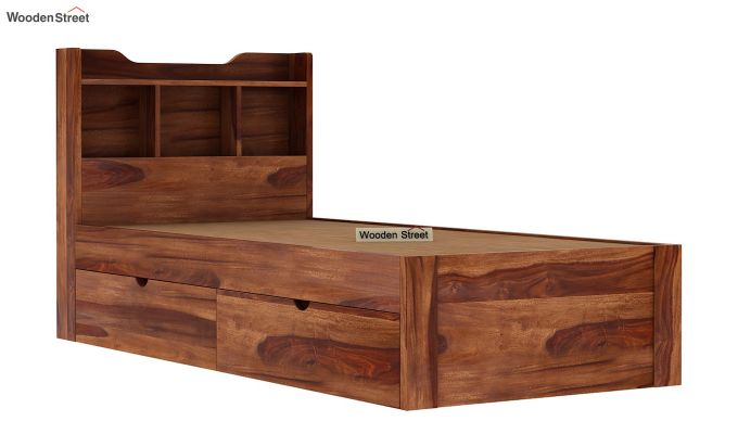Oretta Single Bed With Storage (Teak Finish)-8