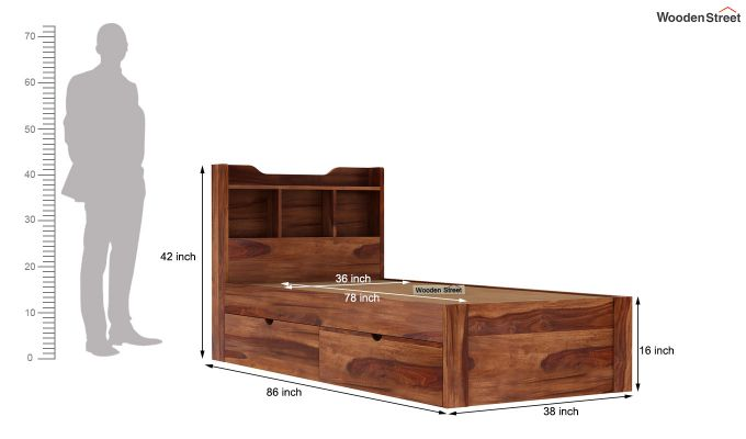 Oretta Single Bed With Storage (Teak Finish)-9