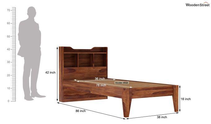 Oretta Single Bed Without Storage (Teak Finish)-8