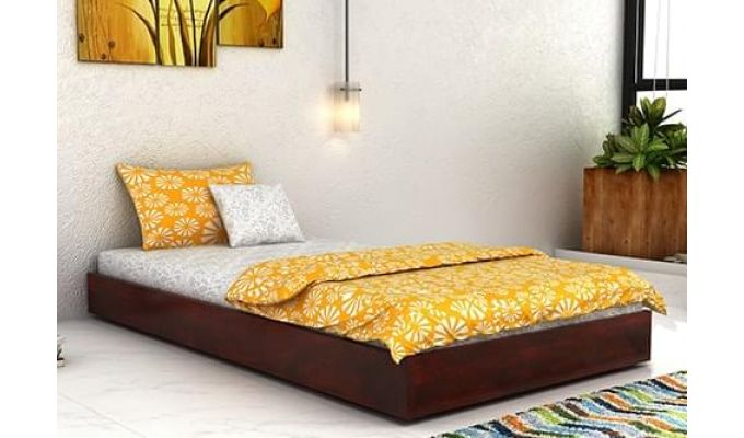 Thienne Single Bed (Mahogany Finish)-1