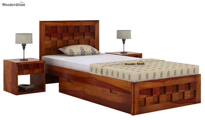 Travis Single Bed With Storage (Honey Finish)-1