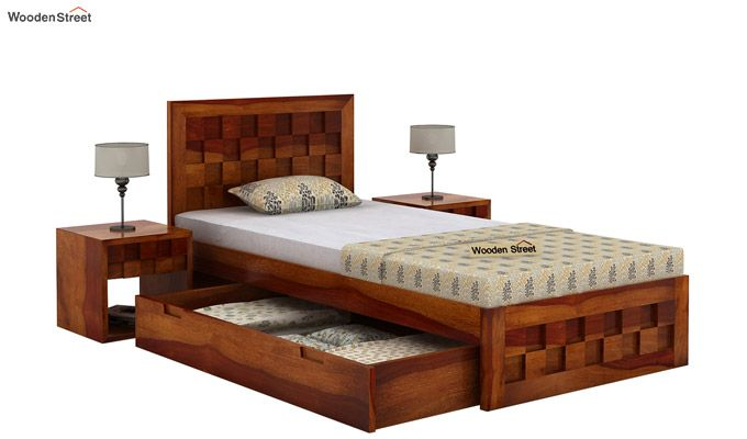 Travis Single Bed With Storage (Honey Finish)-3