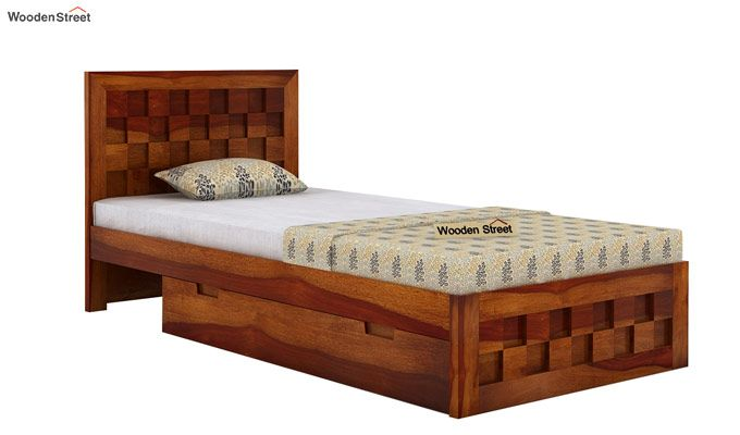 Travis Single Bed With Storage (Honey Finish)-4