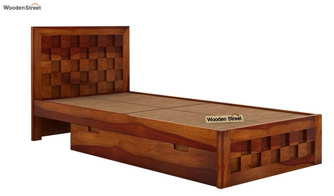 Travis Single Bed With Storage (Honey Finish)-5