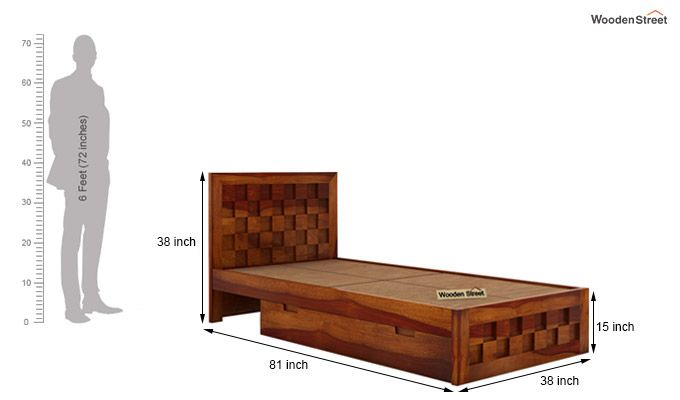 Travis Single Bed With Storage (Honey Finish)-6