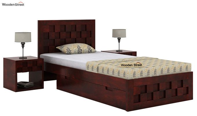 Travis Single Bed With Storage (Mahogany Finish)-1