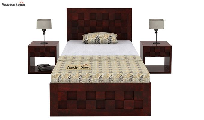 Travis Single Bed With Storage (Mahogany Finish)-2
