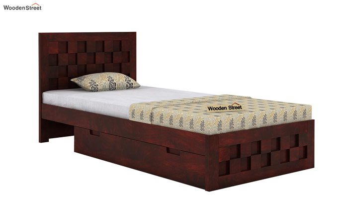 Travis Single Bed With Storage (Mahogany Finish)-4