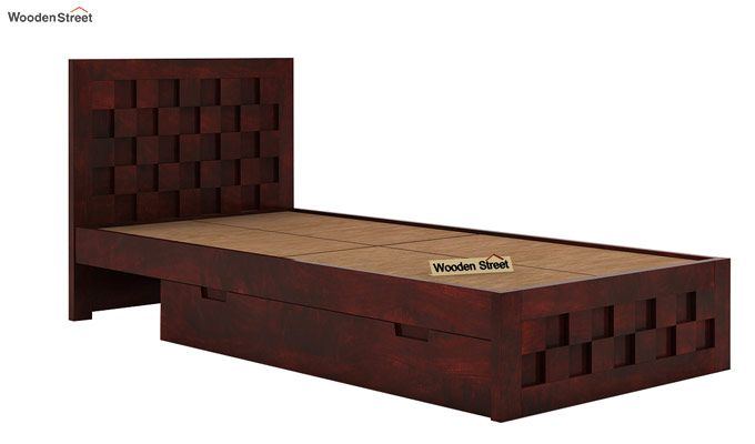 Travis Single Bed With Storage (Mahogany Finish)-5