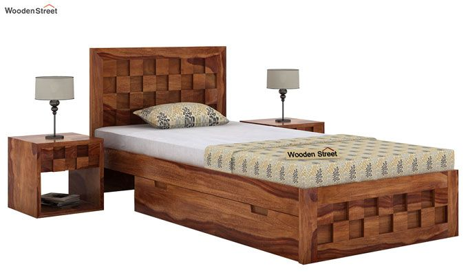 Travis Single Bed With Storage (Teak Finish)-1