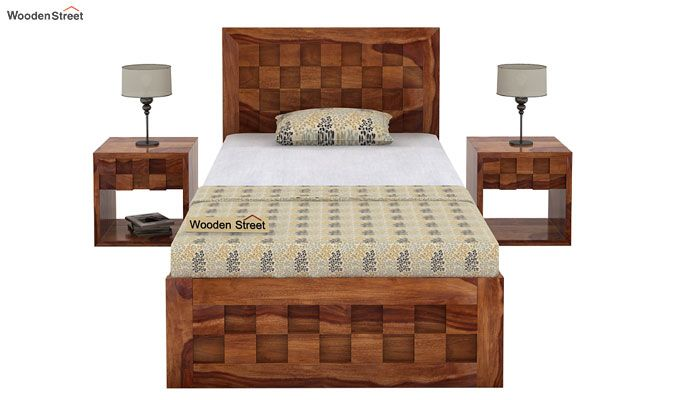 Travis Single Bed With Storage (Teak Finish)-2