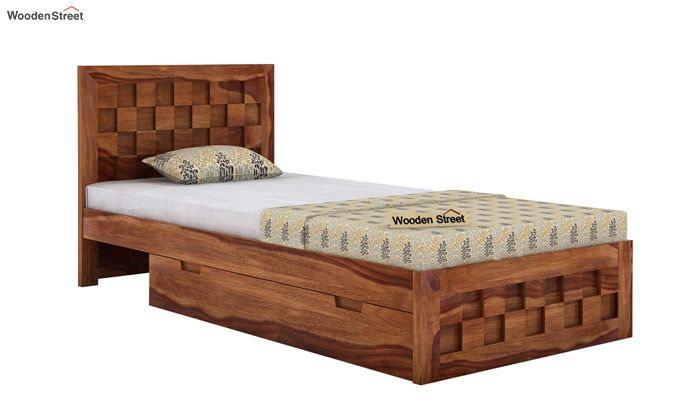 Travis Single Bed With Storage (Teak Finish)-4