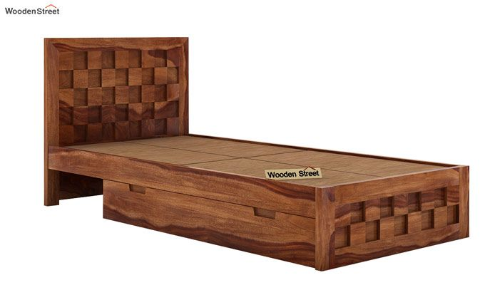 Travis Single Bed With Storage (Teak Finish)-5