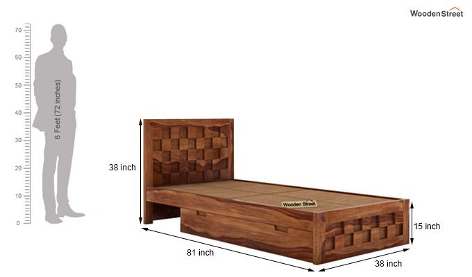Travis Single Bed With Storage (Teak Finish)-6