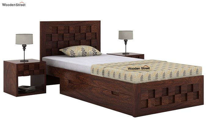 Travis Single Bed With Storage (Walnut Finish)-2