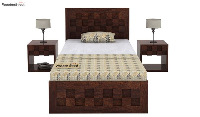 Travis Single Bed With Storage (Walnut Finish)-3