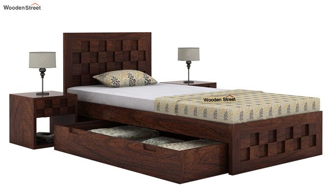 Travis Single Bed With Storage (Walnut Finish)-4