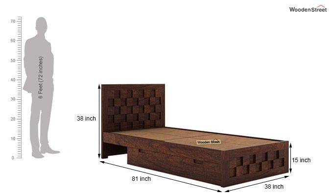 Travis Single Bed With Storage (Walnut Finish)-7