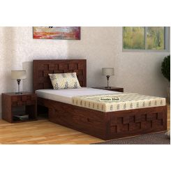 Travis Single Bed With Storage (Walnut Finish)