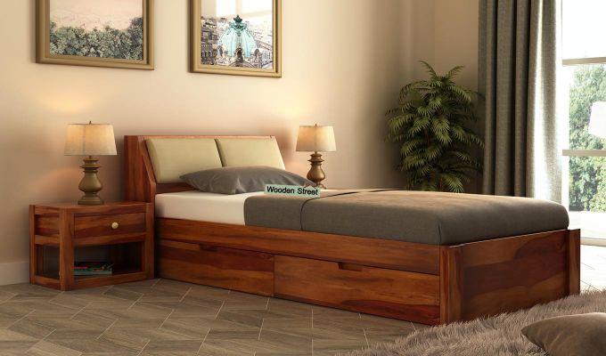 Walken Single Bed With Storage (Honey Finish)-1