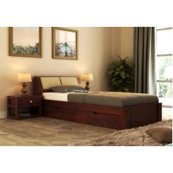 Walken Single Bed With Storage (Mahogany Finish)