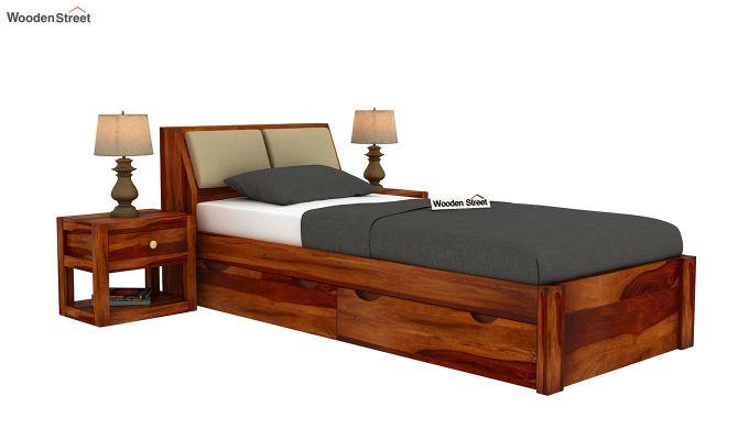 Walken Single Bed With Storage (Honey Finish)-2
