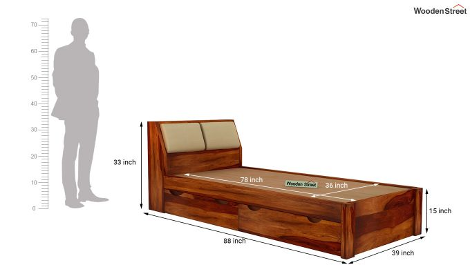 Walken Single Bed With Storage (Honey Finish)-7