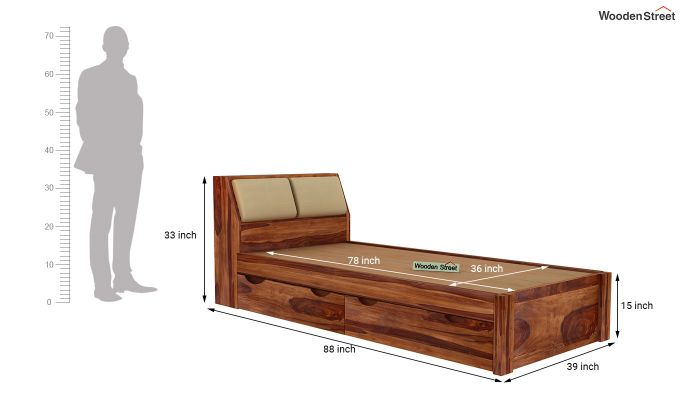 Walken Single Bed With Storage (Teak Finish)-8