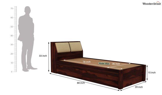 Walken Single Bed With Storage (Walnut Finish)-8