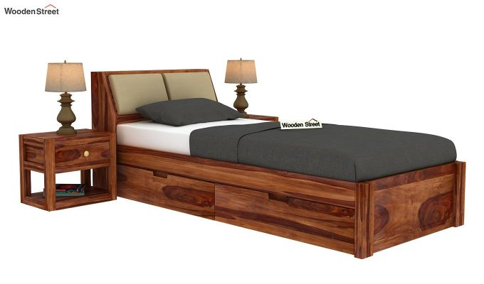Walken Single Bed With Storage (Teak Finish)-2