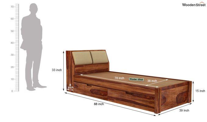 Walken Single Bed With Storage (Teak Finish)-8