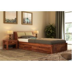 Walken Single Bed With Storage (Teak Finish)