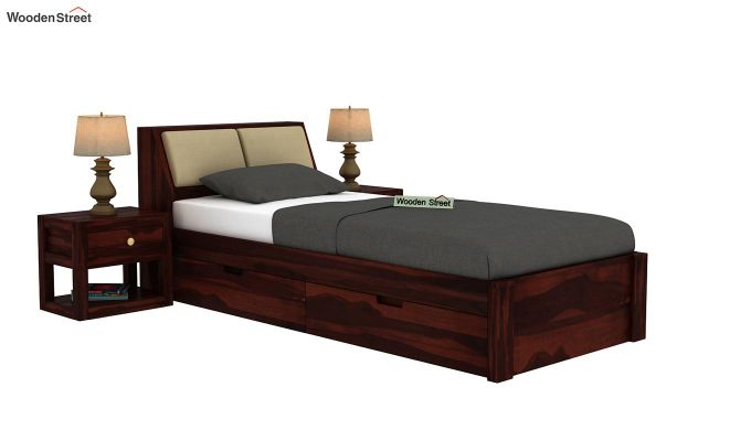 Walken Single Bed With Storage (Walnut Finish)-2